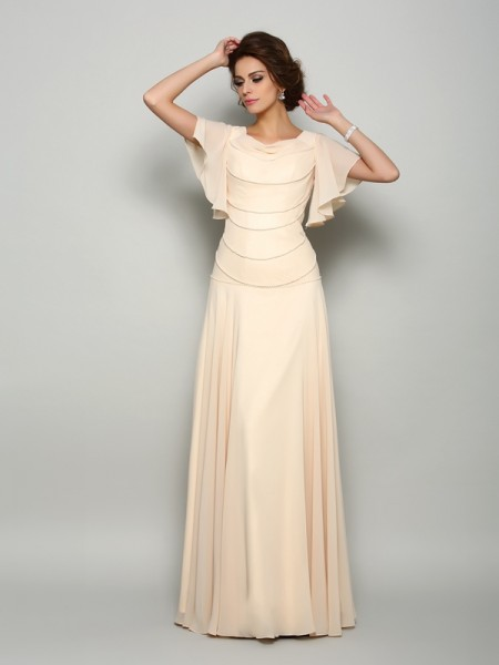 A-Line/Princess Chiffon Beading Square Short Sleeves Floor-Length Mother of the Bride Dresses