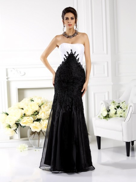 Trumpet/Mermaid Tulle Strapless Sleeveless Applique Floor-Length Mother of the Bride Dresses