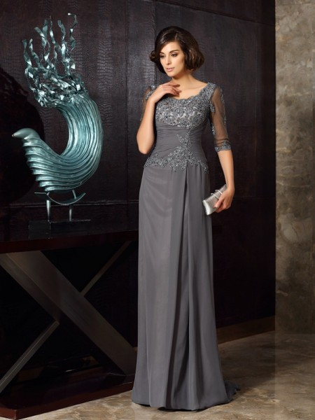 A-Line/Princess Scoop Chiffon Beading 1/2 Sleeves Floor-Length Mother of the Bride Dresses