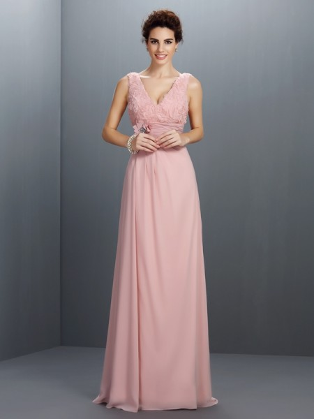 A-Line/Princess Chiffon V-neck Sleeveless Sweep/Brush Train Beading Dresses