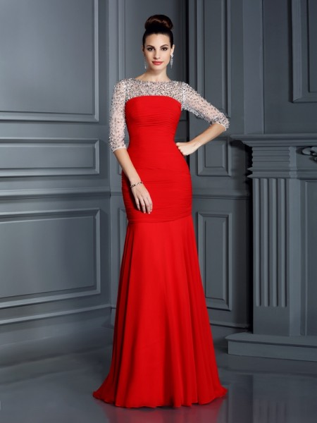 Trumpet/Mermaid Chiffon Scoop 3/4 Sleeves Beading Floor-Length Dresses
