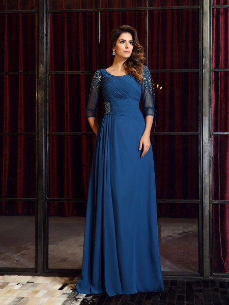 A-Line/Princess Chiffon Square 1/2 Sleeves Ruched Floor-Length Dresses