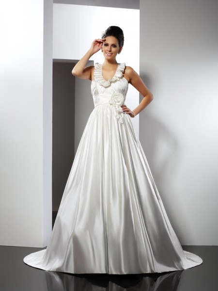 A-Line/Princess Satin Halter Sleeveless Chapel Train Hand-Made Flower Wedding Dresses
