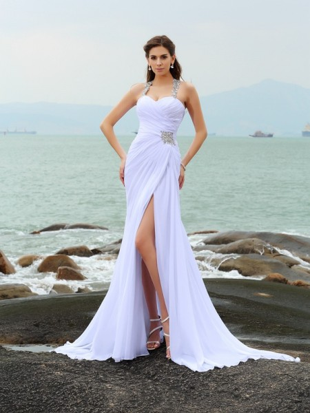 Sheath/Column Straps Chiffon Beading Chapel Train Sleeveless Wedding Dresses