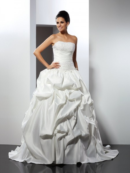 Ball Gown Satin Strapless Sleeveless Cathedral Train Wedding Dresses