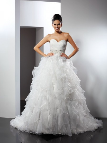 Ball Gown Organza Ruffles Sweetheart Sleeveless Chapel Train Wedding Dresses