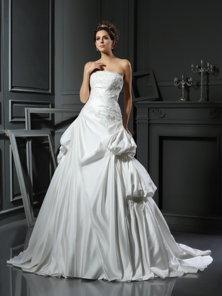 Ball Gown Satin Applique Strapless Sleeveless Chapel Train Wedding Dresses
