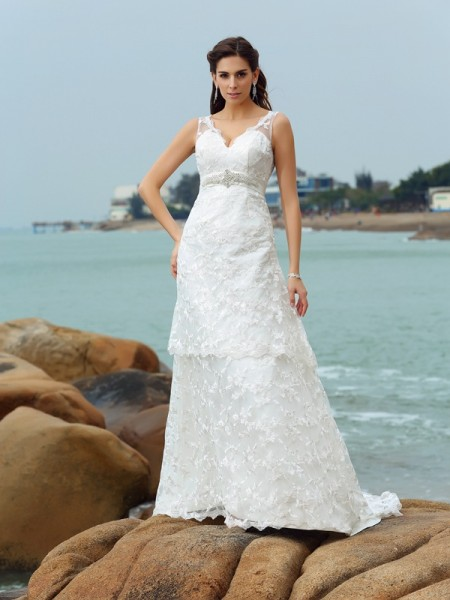 A-Line/Princess Satin Straps Sleeveless Chapel Train Applique Wedding Dresses
