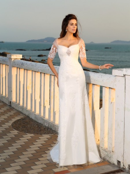 Sheath/Column Satin Applique Sweetheart Short Sleeves Floor-Length Wedding Dresses
