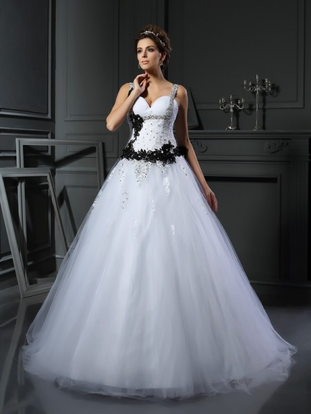 Ball Gown Tulle Beading Straps Sleeveless Chapel Train Wedding Dresses