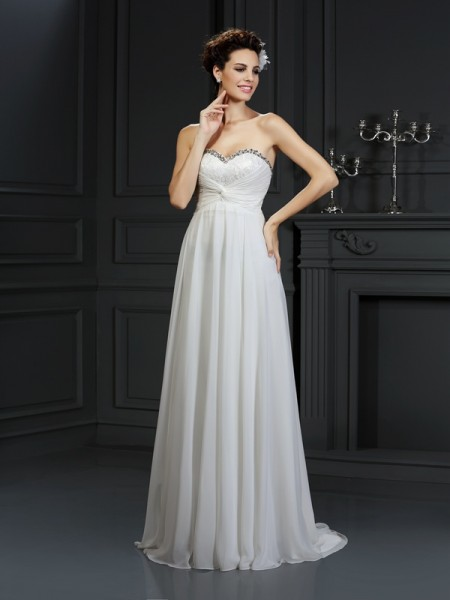 A-Line/Princess Chiffon Sweetheart Sleeveless Ruffles Chapel Train Wedding Dresses