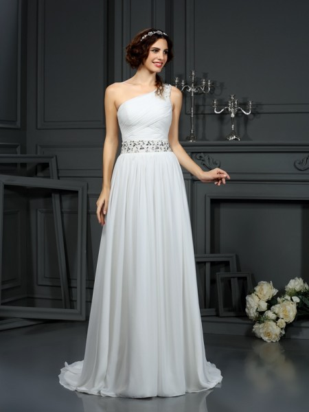 A-Line/Princess Chiffon One-Shoulder Sleeveless Beading Court Train Wedding Dresses
