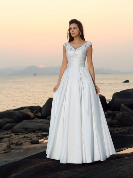 A-Line/Princess Taffeta V-neck Sleeveless Beading Floor-Length Wedding Dresses