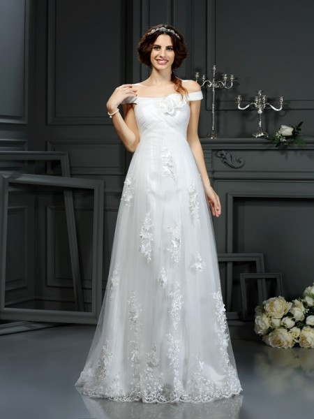A-Line/Princess Net Off-the-Shoulder Sleeveless Applique Court Train Wedding Dresses