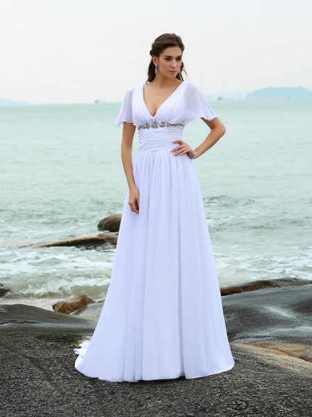 A-Line/Princess Chiffon Ruffles V-neck Short Sleeves Court Train Wedding Dresses