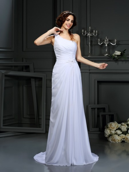 A-Line/Princess Chiffon Pleats One-Shoulder Sleeveless Court Train Wedding Dresses