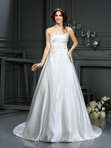 A-Line/Princess Strapless Satin Beading Sleeveless Court Train Wedding Dresses
