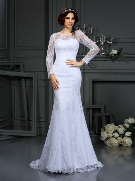Sheath/Column Satin Scoop Lace Court Train Long Sleeves Wedding Dresses