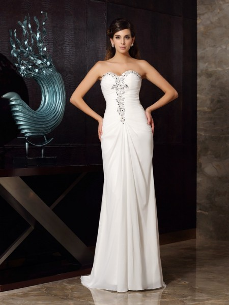 Trumpet/Mermaid Chiffon Sweetheart Sleeveless Sweep/Brush Train Beading Dresses