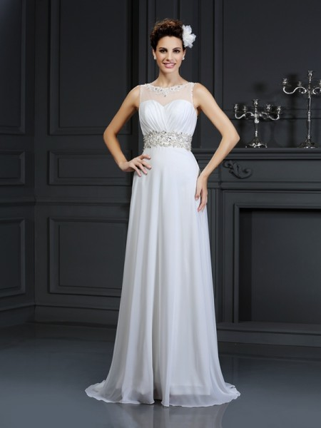 A-Line/Princess Chiffon Bateau Sleeveless Ruffles Chapel Train Wedding Dresses