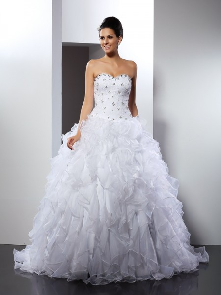 Ball Gown Satin Sweetheart Ruffles Court Train Sleeveless Wedding Dresses