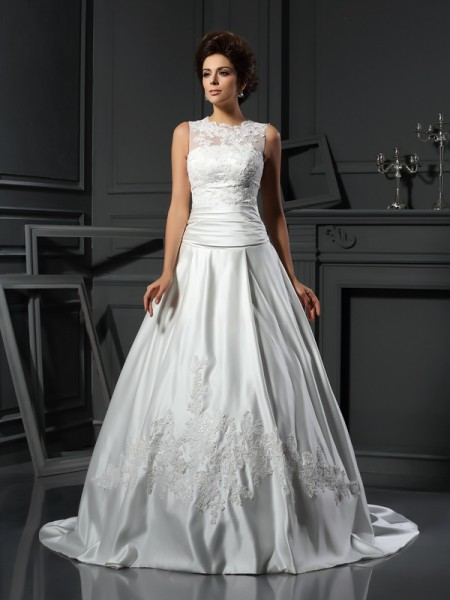 A-Line/Princess High Neck Satin Sleeveless Chapel Train Applique Wedding Dresses