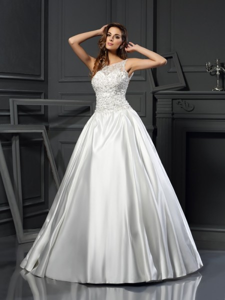 Ball Gown Scoop Satin Sleeveless Applique Chapel Train Wedding Dresses