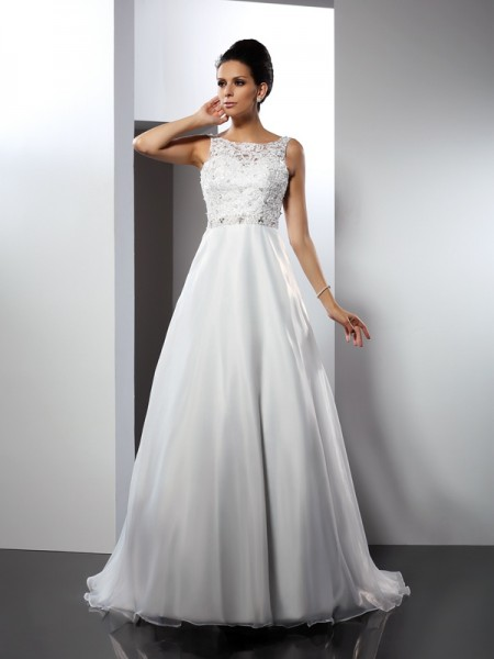A-Line/Princess Satin Scoop Sleeveless Ruffles Chapel Train Wedding Dresses
