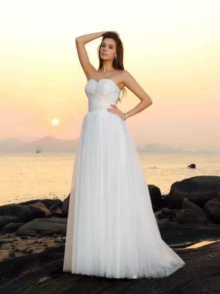 A-Line/Princess Net Sweetheart Sweep/Brush Train Sleeveless Wedding Dresses