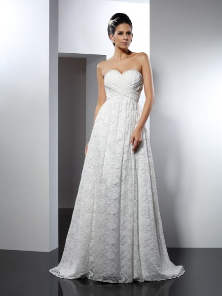 A-Line/Princess Satin Sweetheart Sleeveless Sweep/Brush Train Wedding Dresses