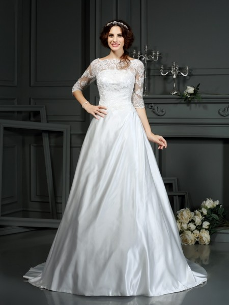 A-Line/Princess Satin Bateau 1/2 Sleeves Lace Court Train Wedding Dresses