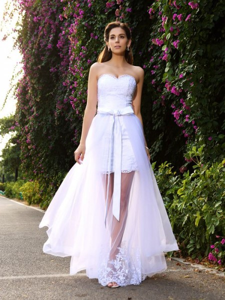 Trumpet/Mermaid Tulle Sweetheart Sleeveless Applique Floor-Length Wedding Dresses