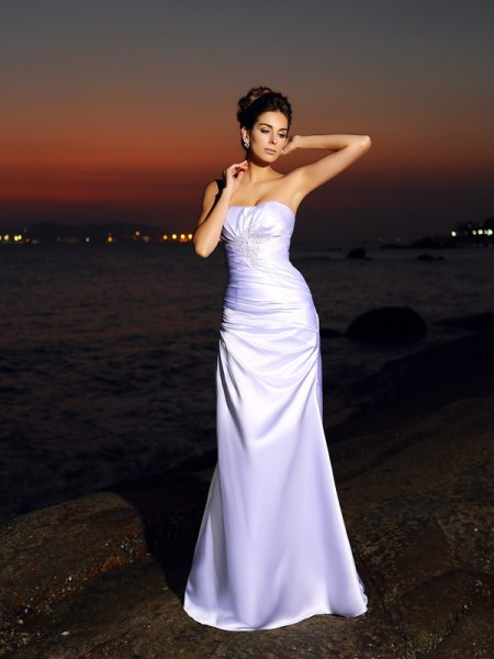 Trumpet/Mermaid Satin Sweetheart Chapel Train Sleeveless Wedding Dresses