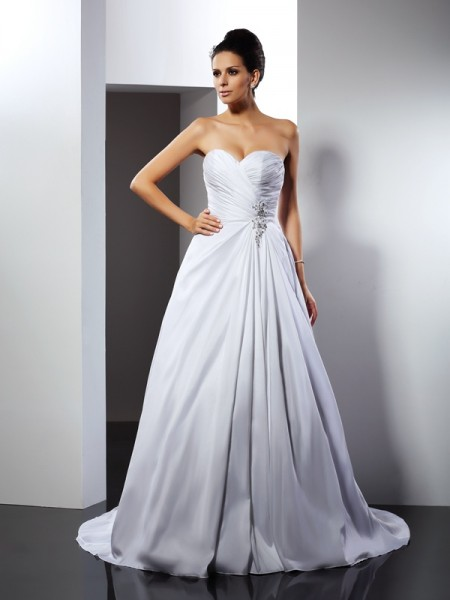 A-Line/Princess Satin Sweetheart Sleeveless Ruffles Court Train Wedding Dresses