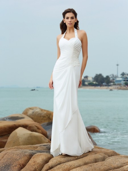 Sheath/Column Chiffon Halter Sleeveless Pleats Court Train Wedding Dresses
