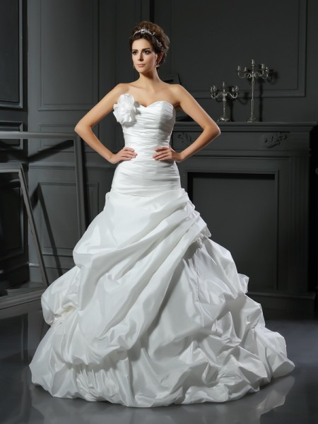 Ball Gown Satin Sweetheart Sleeveless Hand-Made Flower Cathedral Train Wedding Dresses