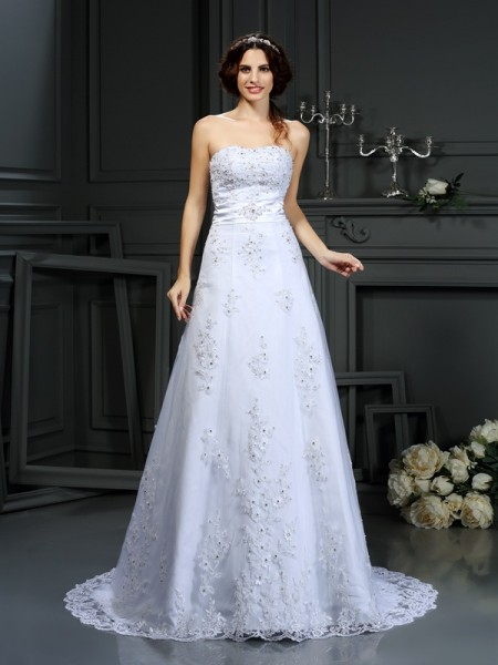 A-Line/Princess Satin Strapless Sleeveless Applique Court Train Wedding Dresses