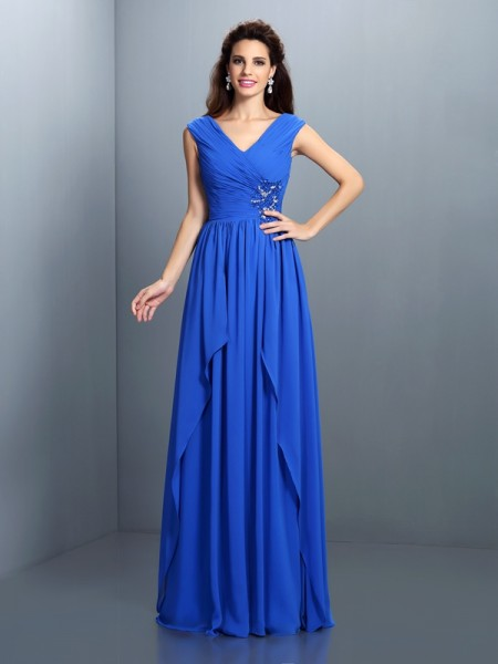 A-Line/Princess Chiffon Beading V-neck Sleeveless Floor-Length Dresses