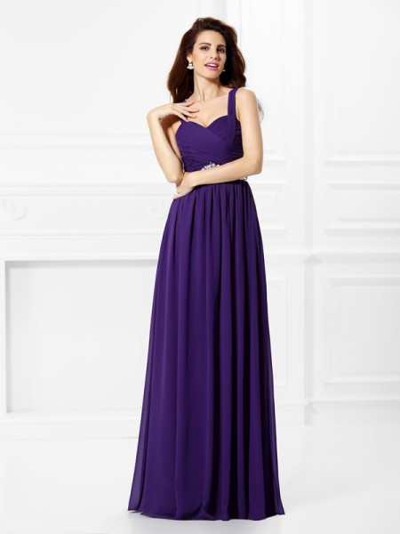 A-Line/Princess Chiffon Sweetheart Sleeveless Floor-Length Beading Dresses