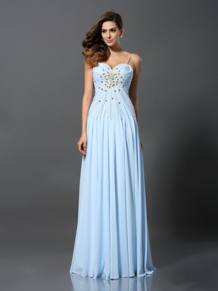 A-Line/Princess Spaghetti Straps Chiffon Sleeveless Beading Sweep/Brush Train Dresses