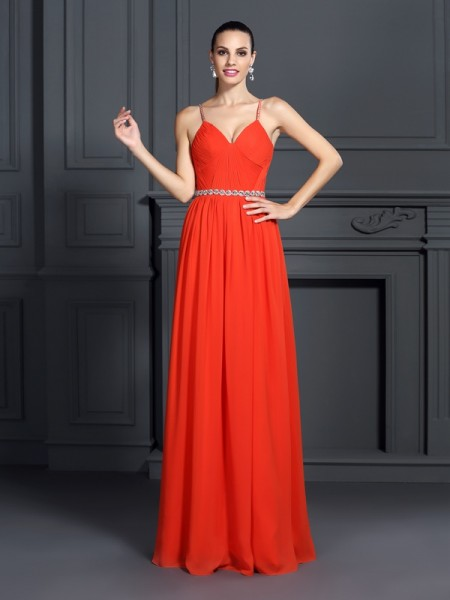 A-Line/Princess Chiffon Spaghetti Straps Beading Floor-Length Sleeveless Dresses