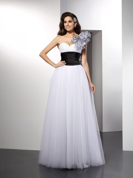 A-Line/Princess Net One-Shoulder Sleeveless Sash/Ribbon/Belt Floor-Length Dresses