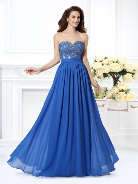 A-Line/Princess Chiffon Sweetheart Applique Floor-Length Sleeveless Dresses