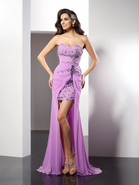 Sheath/Column Silk like Satin Sweetheart Sleeveless Beading Floor-Length Dresses