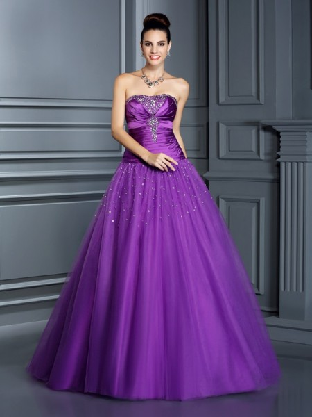 Ball Gown Taffeta Strapless Floor-Length Sleeveless Dresses
