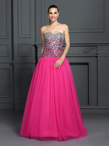 Ball Gown Organza Sweetheart Sleeveless Floor-Length Dresses