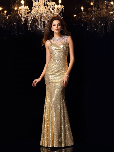 Trumpet/Mermaid Sequins High Neck Sleeveless Floor-Length Dresses