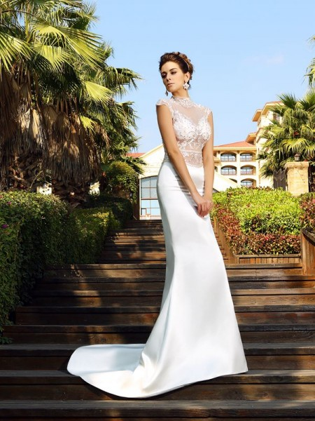 Trumpet/Mermaid Satin High Neck Sleeveless Beading Court Train Wedding Dresses