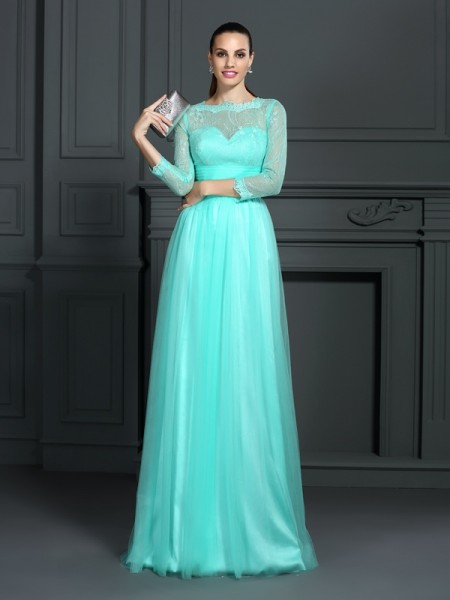 A-Line/Princess Elastic Woven Satin Bateau 3/4 Sleeves Sweep/Brush Train Lace Dresses