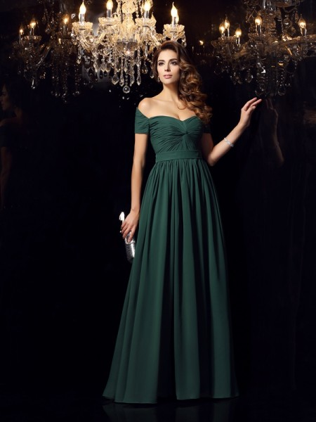 A-Line/Princess Chiffon Ruched Off-the-Shoulder Sleeveless Floor-Length Dresses